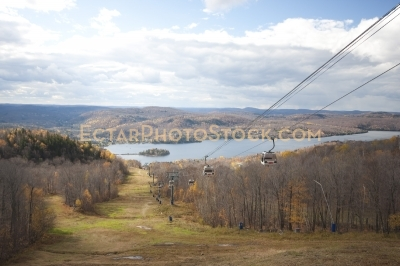 Mont tremblant gondolas and lake