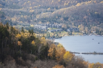 View on Mont Tremblant resorts and lake and forest at fall